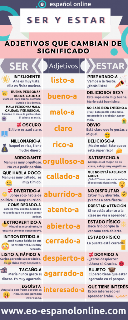Adjectives that change meaning with SER and ESTAR – EO Español Online